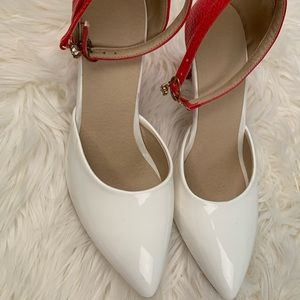 Shoes - Artfaerie heels red and white sz 8